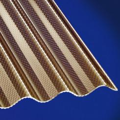 Acryl Wellplatten Wabe 3mm Sinus 76/18 bronce für Terrassenüberdachung, Carport und mehr