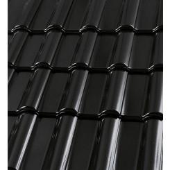 Röben Dachziegel Bari schwarz-matt Glanz-Engobe - Flachdachziegel