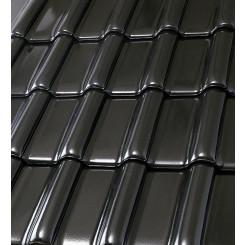 Röben Dachziegel Flandernplus schwarz Glanz-Engobe - Groß-Flachdachziegel
