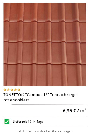 "TONETTO® ""Campus 10"" Tondachziegel rot engobiert"