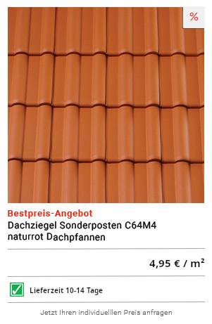 Dachziegel Sonderposten C64M4 naturrot