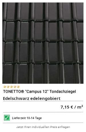 """TONETTO® """"Campus 12"""" Tondachziegel schwarz glasiert"""