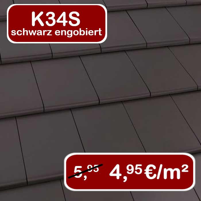 Dachziegel K34s schwarz engobiert