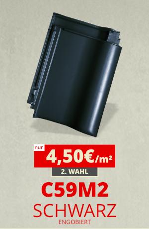 Dachziegel Sonderposten C59M2 schwarz engobiert