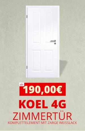 Koel 4G Komplettelement Zimmertür mit Zarge Weißlack