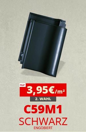 C59M1 Dachziegel schwarz engobiert Sonderposten