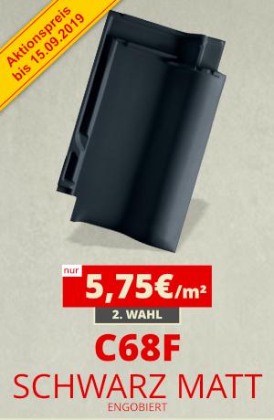 Dachziegel C68F schwarz matt engobiert