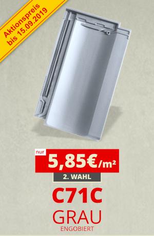 Dachziegel Sonderposten C71C grau engobiert