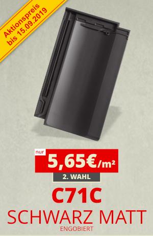 Dachziegel Sonderposten C71C schwarz matt engobiert