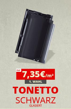TONETTO® Dachpfannen schwarz glasiert flachdachziegel