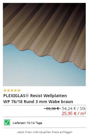 PLEXIGLAS® Resist Wellplatten WP 76/18 Rund 3 mm Wabe braun